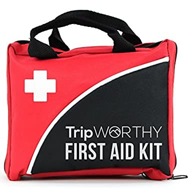 TripWorthy Compact First Aid Kit Medical Emergency Home, Car, Camping, Hiking, Sport, Work, Office, Boat, Survival Traveling - Small Lightweight First Aid Bag