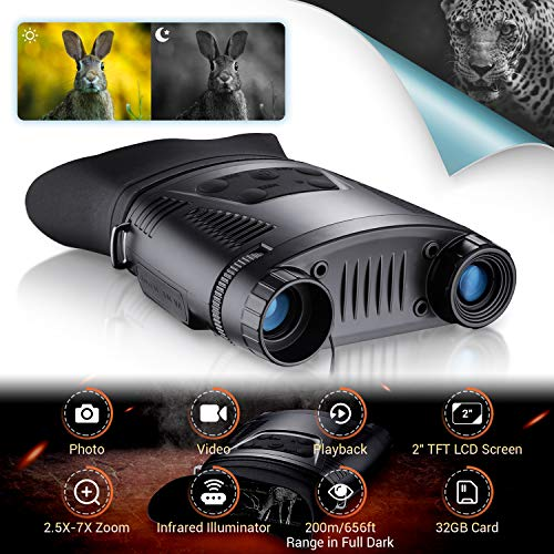 2-7x Binocular Digital de Visión Nocturna infrarroja HD de 21 mm, Tarjeta TF de 32 GB, Pantalla LCD de 2