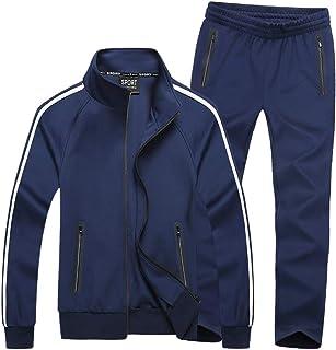 Men's Athletic Full-Zip Stripe Jogging Tracksuit Casual Sport Sweat Suit