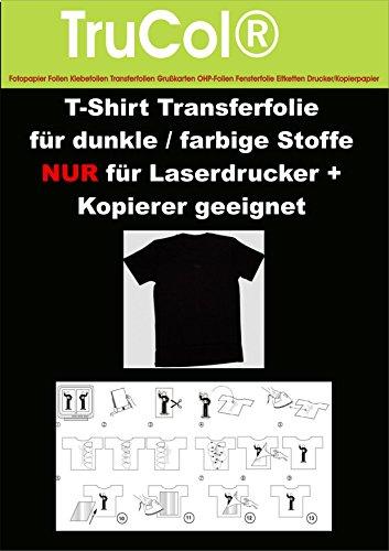 T-shirt folie transferfolie voor licht/wit + donker/gekleurd/zwart textiel laser printer kopieerapparaat 10x A4 weiß zwart