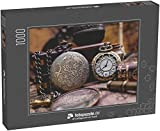 Puzzle 1000 Teile Alte Uhr Halskette auf Weltkarte - Klassische Puzzle, 1000 / 200 / 2000 Teile,...