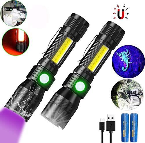 UV Taschenlampen mit 395nm UV Lampe, Magnet Taschenlampe LED USB Aufladbar, iToncs Wasserdicht COB Taktische Taschenlampe, Schwarzlicht Detektor für Banknoten, Urin von Haustiere (mit 18650 Akku)