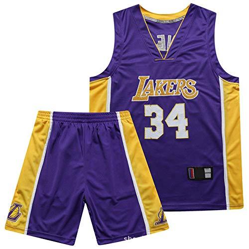 Anoauit NBA Lakers Meisterschaft Basketball Trikot Shaq O'Neal # 34 V-Ausschnitt Hochdichte Stickerei Trikot Basketball Atmungsaktives Training Fitness Weste Anzug-Lila_XXX-groß