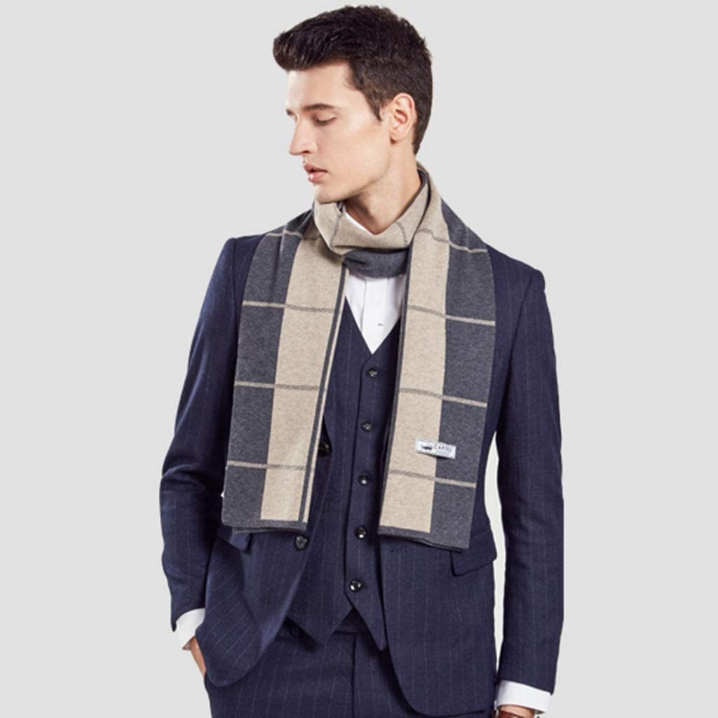 DWW Winter Thick Latttice Wool Men Scarf Neck Warm, Oversized Long Boy Stripe Scarves for 3 Seasons Outdoor Travel Or Party (Color : Kakhi)