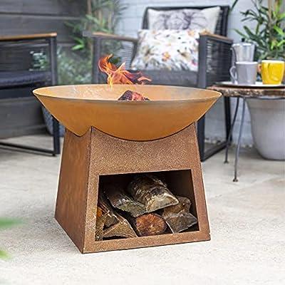 Modern Cast Iron La Hacienda Fasa Fire Pit with Log Store - Oxidized Effect (Tall Garden Log Burner, Large Patio Heater, BBQ Chimenea) from La Hacienda