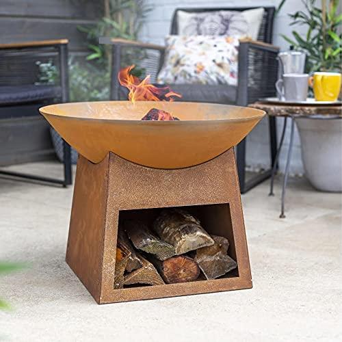 Braciere moderno in ghisa La Hacienda Fasa con Log Store – effetto ossidato (bruciatore a legna da giardino, grande riscaldatore per patio, camino per barbecue)
