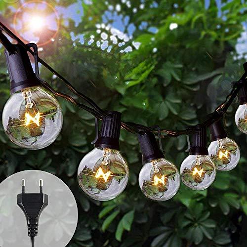 Luz Exterior 25 + 5 G40 Guirnalda Bombilla 25 pies lámpara Impermeable lámpara IP44 Luces Decorativas Interior y Apariencia terraza jardín Fiesta Boda Navidad-Amarillo #1