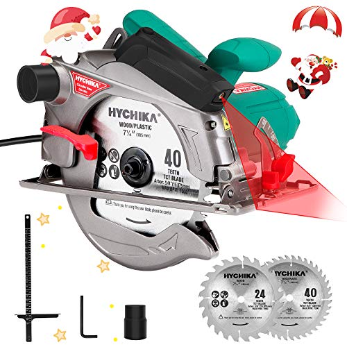 Circular Saw, HYCHIKA 12.5A Electric Saw with Fixed Speed 5500RPM, 2Pcs Blades(24T+ 40T): 7-1/4
