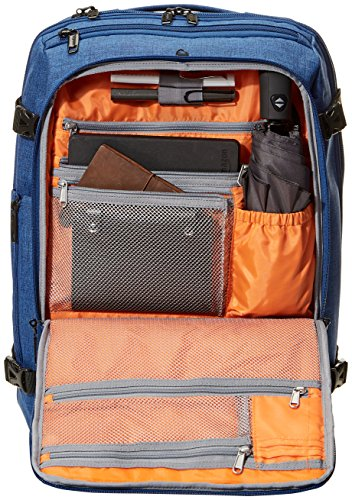51wCajyrQNL - AmazonBasics - Mochila compacta de viaje, Azul, para viajes de fin de semana