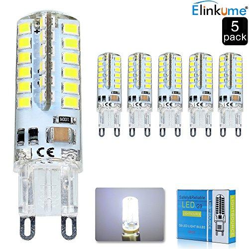 Elinkume 5X G9 Ampoule LED 5W Lumière LED 48 SMD 2835LED Light Bulb Blanc Froid 380-400LM Lampe LED AC200-240V