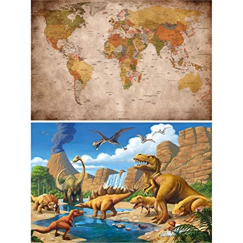 GREAT ART 2er Set XXL Poster – Retro-Urzeit Bild – Weltkarte & Dinosaurier Vintage Deko Tiere Jurazeit Reptilien Landkarte Globus Vulkan Dekoration Foto Wanddeko (140 x 100cm)