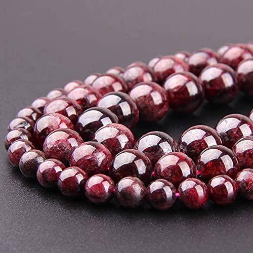 AFANGMQ Venta al por Mayor Piedra Natural Garnet Dark Beads Natural Gem Dark Rojo Rojo Redondeo Liso Beads DIY Pulsera para la joyería Handmade (Item Diameter : 8mm(Approx 48pcs))