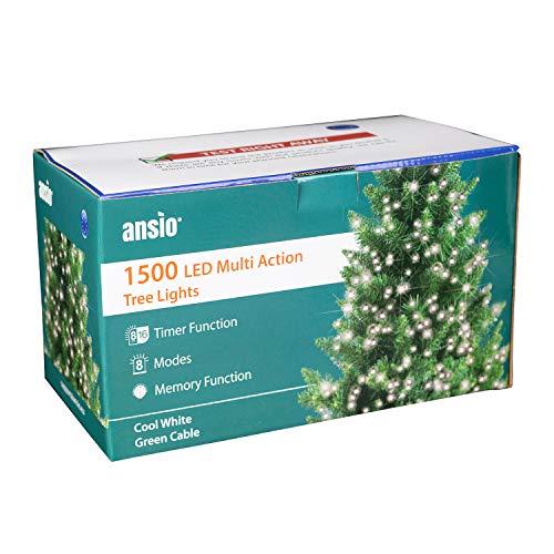 ANSIO Luci natalizie per interni e esterno 1500 LED albero luci Bianco brillante,8 modalità con memoria e funzione timer, alimentate, trasformatore incluso 37,5 m/123ft Lunghezza illuminata-CAVO VERDE