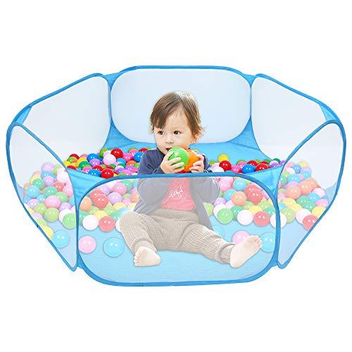 ZHEBEI Tienda de campaña de juguete para niños plegable tienda de campaña de piscina al aire libre casa de gateo juego de pelota Pit tienda