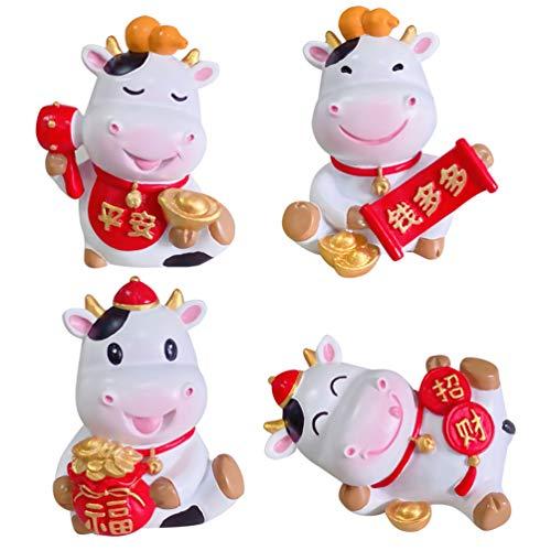 VALICLUD Juego de 4 figuras de animales de resina 2021 con diseño de animales chinos de buey, ideal para decorar tartas de vaca y minicasa de muñecas, figuras de hadas y jardín Bonsai