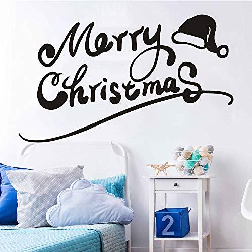 Wandaufkleber, Frohe Weihnachten Cap Pvc Abnehmbare Wandaufkleber Schaufensteraufkleber Weihnachtsdekorationen 58X33Cm