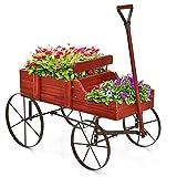 COSTWAY Brouette Décorative en Bois avec 2 Compartiments à Planter Roues Métalliques et Poignée à l'avant Charge 15kg pour Cour Jardin Véranda (Rouge)