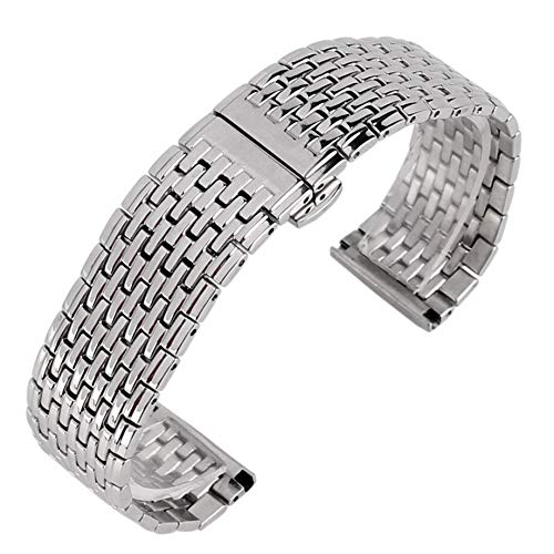 3°Amy Correas de reloj 20mm plata acero inoxidable reloj malla pulsera con doble empuje #a