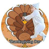 エリアラグ軽量 感謝祭の七面鳥 フロアマットソフトカーペット直径39.4インチホームリビングダイニングルームベッドルーム