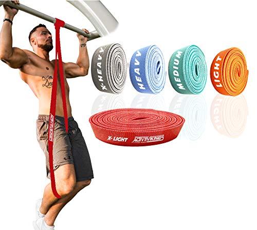ActiveVikings® Pull-Up Stoff Fitnessbänder - Perfekt für Muskelaufbau und Crossfit Freeletics Calisthenics - Fitnessband Klimmzugbänder Widerstandsbänder (A - Rot)