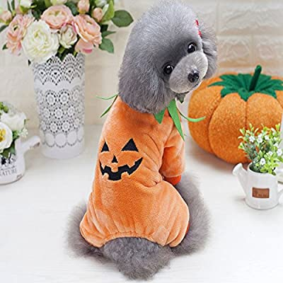 Idepet Pet Clothes Halloween Pumpkin Costume Fleece Coat Jackets Clothing for Dog Cats Puppy Chihuahua Dressing up Party Halloween Christmas Easter Festival Activity Apparel