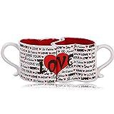 DreamJing - Set di tazze da caffè, a forma di cuore, regalo per coppia, San Valentino, Natale, matrimonio, compleanno, bianco e rosso