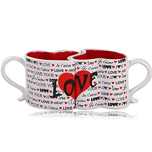 DreamJing - Juego de taza de café con forma de corazón para regalo de pareja de San Valentín,...