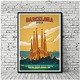 FUXUERUI Póster de viaje Vintage mapa de la ciudad de Barcelona cuadro artístico de pared pintura en lienzo póster impreso para decoración del hogar 40x60cm sin marco
