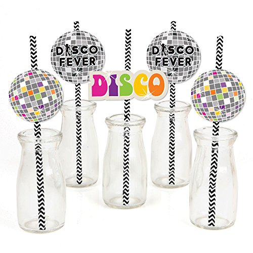 70's Disco - Paper Straw Decor - 1970's Disco Fever Party Striped Decorative Straws - Set of 24
