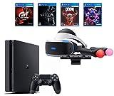 PlayStation 4 Slim Bundle (6 Items): PS VR Starter Bundle, PS4 Slim 1 1TB Console - Jet Black, and 4 VR Game Discs: Doom VFR, Skyrim VR, VR Worlds, and Gran Turismo Sports