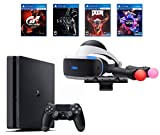 PlayStation 4 Slim Bundle (6 Items): PS VR Starter Bundle, PS4 Slim 1 1TB Console - Jet Black, and 4 VR Game Discs: Doom VFR, Skyrim VR, VR Worlds, and Gran Turismo Sports
