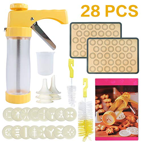 28-Piece Cookies Press Gun Kit Set DIY Biscuit Maker with 16 Discs, 6 Icing Decorating Tips, 2 Macaroon Baking Mat Sheets, 2 Cleaning Brushes and 150ML Measuring Cup for Cookies, Cakes and Biscuits