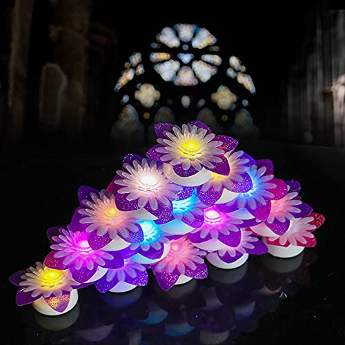 ICECON Tea Lights, 15 Pack Colorful Simulation Flower Candle Light LED Candles 100 Hours Realistic Flickering Bulb Battery Operated Tea Lights