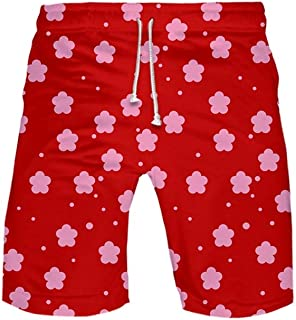 XIELH Men'S Swim Trunk 3D Print Graphic Summer Beach Shorts Surfing Trunks Holiday Leisure Cool Pants 3D Red Printed Beach Pants