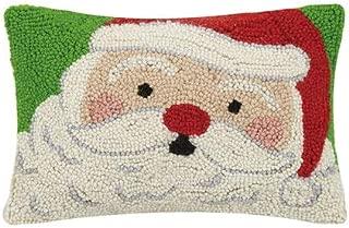 "Peking Handicraft Merry Nostalgic Santa Claus Christmas Hooked Wool Pillow – 8"" x 12"""