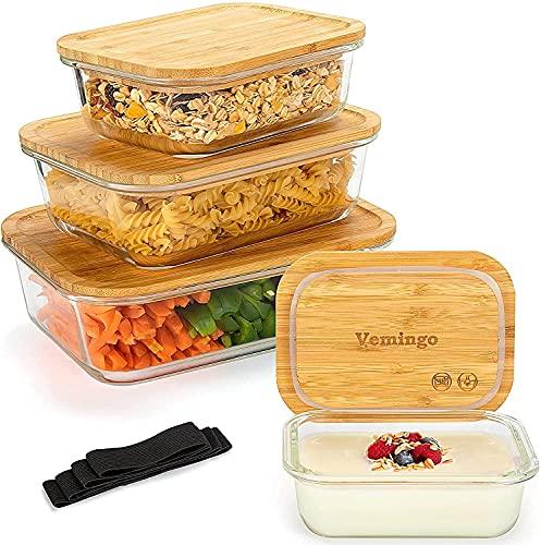 Vemingo Táper de Cristal Recipientes de Cristal para Alimentos 4 pieza cajas...