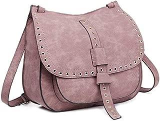 Miss Lulu Sac /à dos clout/é Mode cuir PU femmes sac /à bandouli/ère avec poign/ée Grab Zipper sacs /à main pochette trou trou avant M Logo
