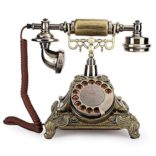 Garsentx Teléfono clásico de época, Placa giratoria, teléfono Fijo Antiguo con Cable, teléfono Decorativo de Escritorio para la Oficina del Hotel en casa