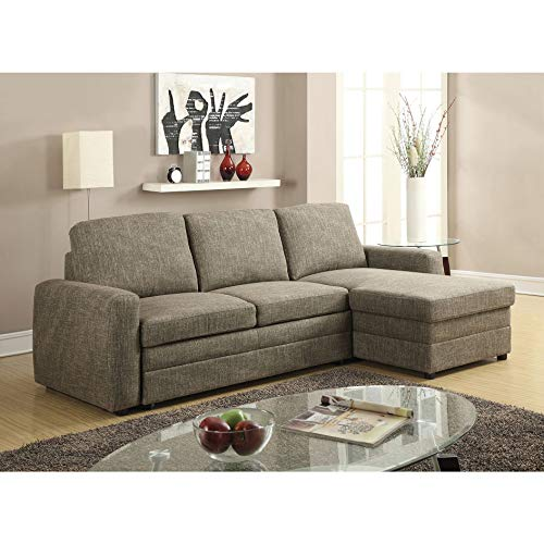 ACME Furniture Derwyn Sectional Sofa, Light Brown Linen