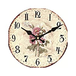 Huzzg Clocks for Bedrooms Battery Kitchen Wine Modern Style Wooden Cardboard Clock,Flowers Round Wall Clock for Home Decor Living Room No Ticking Sound,Flower Wall Clock 10,34cm