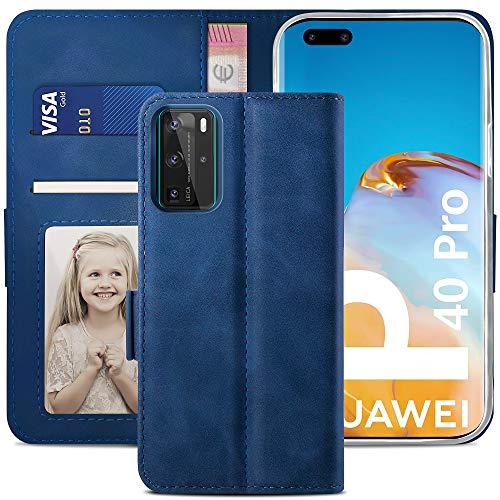 YATWIN Handyhülle Huawei P40 Pro Hülle, Klapphülle Huawei P40 Pro Premium Leder Brieftasche Schutzhülle [Kartenfach][Magnet][Stand] Handytasche für Huawei P40 Pro Hülle, Blau