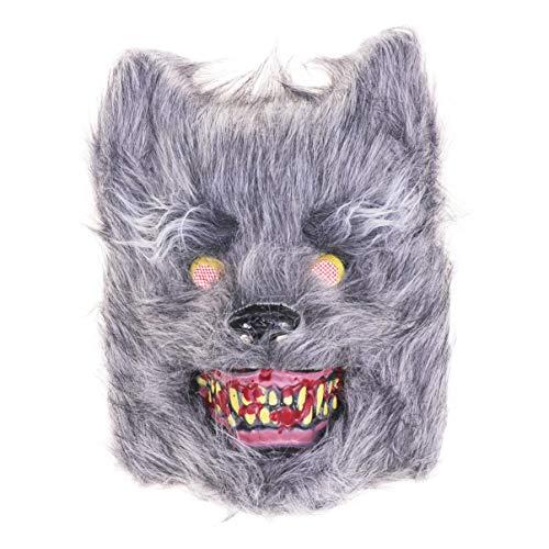 Amosfun Máscara de animales de Halloween, máscara de cabeza de lobo de miedo, máscara de cosplay para adultos y niños, disfraz de Halloween