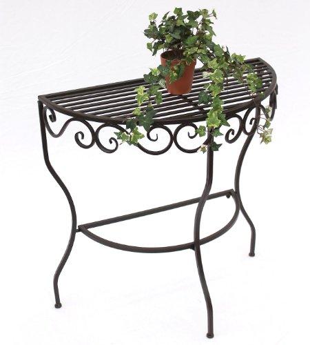 DanDiBo Table Table Murale Cadice 19042 Table d'appoint en métal 70 cm Semi-Rond Table à Fleurs