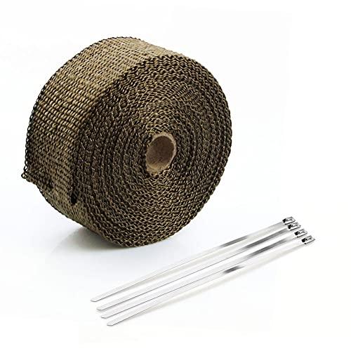 Cinta aislante térmica para tubo de escape de motocicleta de 10 M, cinta de escape, cintas aislantes de tela absorbentes de sonido a prueba de fuego (Titanium)