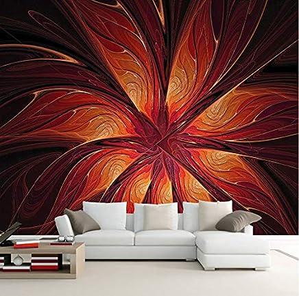 3D Murales Papel Pintado Pared Calcomanías Decoraciones Línea Dinámica Flores Rojas Arte Tv Infantil (W)400x(H)280cm