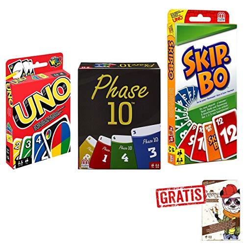 Mattel Spar-Set 169882 3-er Set Kartenspiele: UNO, Skip BO und Phase 10 + GRATIS Snappy Dressers