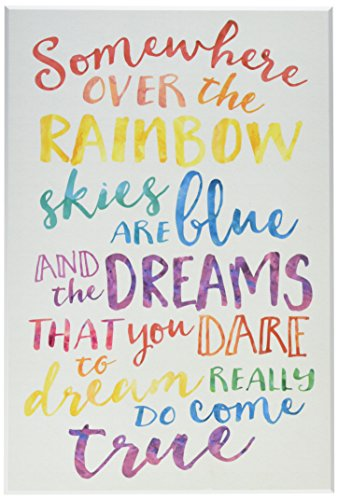 Stupell Home Décor Somewhere Over the Rainbow Watercolors Wall Plaque Art, 10 x 0.5 x 15, Proudly Made in USA