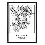 Nacnic Lámina Mapa de la Ciudad Helsinki Estilo nordico en Blanco y Negro. Poster tamaño A3 Sin Marco Impreso Papel 250 gr. Cuadros, láminas y Posters para Salon y Dormitorio