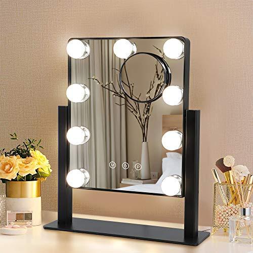 Depuley Espejo de maquillaje Hollywood con iluminación, giratorio 360°, con conversión de luz de 3 colores, 9 luces LED regulables, color negro, espejo cosmético con luz para tocador, baño, salón