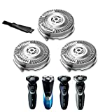 Sh50/52 Replacement Heads for Philips Norelco 5000 Series Shaver Replacement Blades Compatible with Norelco 5675, 5100,5500, 5300, 3 Pack with a Brush